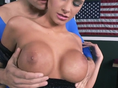 Busty blonde Jessica Nyx sucks and rubs clit