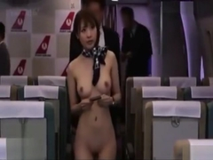 Naked Japanese flight attendant