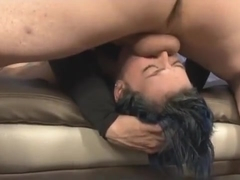 Dyed Blue Hair Kimberly Kane Face Fucked Kneeling On Floor