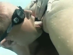 Sex underwater in Black Swimsuit