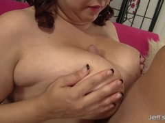 Luscious BBW Buxom Bella Spreads Her Legs for Tongue and Hard Cock