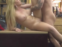 Busty blonde babe Skyla Novea bangs pawnman for cash
