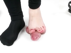 Shoejob sockjob footjob and cock trampling in cockbox ballet flats
