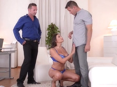 Busty glamour goddess Sensual Jane fucked by husband & Doctor at the office