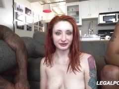 Red haired beauty, Violet Monroe had interracial threesome with black guys, in her new kitchen