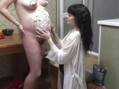 Lesbian licking cream from pregnant milf, fetish foreplay with food.