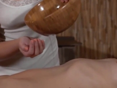 Glam lesbian massage with oiled up babes