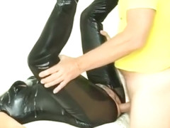 Wetlook Catsuit Gangbang