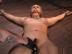 Tied up busty blonde bdsm sub clamped before spanking and toy