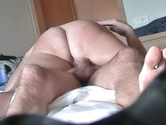 Sina cellulite ass spanked, riding to orgasm, creampie