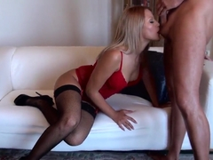 East European naughty blonde Cherry Kiss in stockings fucked in her favorite pose