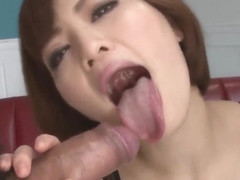 Tomoka Sakurai deals cock with her soft lips - More at Pissjp.com