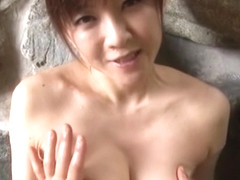 Ai Komori hot mature Japanese babe gets tit fuck outdoors