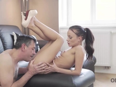 OLD4K. Adorable miss Tina Walker enjoys strong dick of old man