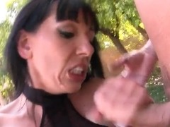 Busty brunette milf Alia Janine fucking with Marco Banderas near the pool