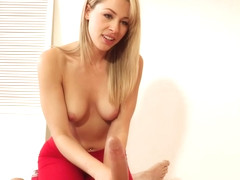 Sensual blonde babe in red sneakers, Zoey Monroe is eagerly sucking her boyfriend's huge cock