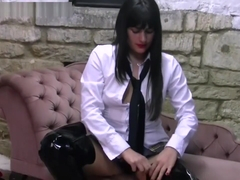 Dressed as schoolgirl babe in mums silky smooth leather heeled thigh boots