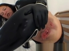Latex Angel black anal solo