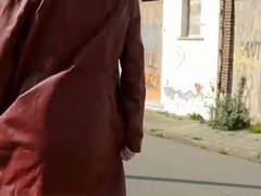 Dutch mama flashing and playing in doel belgium