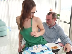 Roger get s his candle blown for his birthday, from the young hot coffee shop attendant tracy
