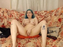 Cute petite blue haired russian sweety has a amazing orgasm