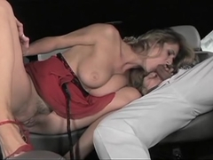 Jane Darling hops in the back seat and lands on a guys hard dick