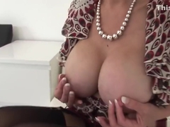 Adulterous english milf lady sonia exposes her oversized jugs