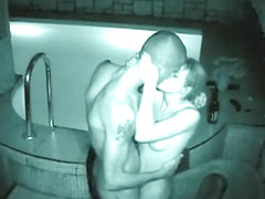 Spying neighbor's sex in an outside pool