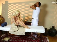 Inked milf with fake tits fucked by masseur