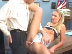 Schoolgirl with small bazookas gets team-fucked hard in lots of poses