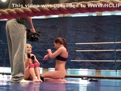 Lesbian foreplay after wrestling