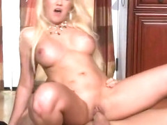 Enticing fair-haired mom Alana Evans let the dude cum on her face