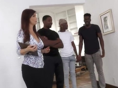 Insatiable woman, Syren De Mer is sucking many black cocks in a row and getting fucked good