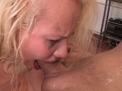 Blond sloppy out nose blow job facial