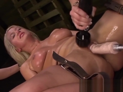 Naughty Layla Price dominated by dykes while on sex machine