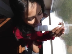 HOME ALONE HORNY DESI SLUT SUCKS AND FUCKS DILDO ON WINDOW