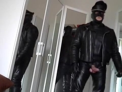 leather biker rubber masked poppers and plug anal