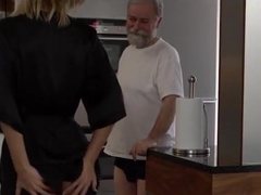 Old grandpa fuck young girl at home