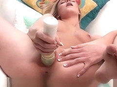 Blonde Babe Stuffs Her Cunt With A Large Object