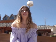 GERMAN SCOUT - Magaluf Holiday Teen Candice Talk to Public Agent Casting
