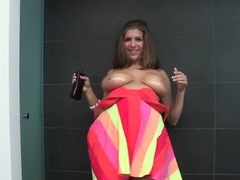 Fat chick with awesome boobies gets oiled and fucked