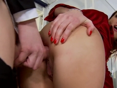 Outstanding brunette is assholed by a big dick