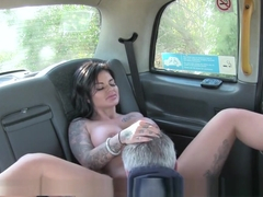 Babe With Big Silicone Tits Fucks In Fake Cab