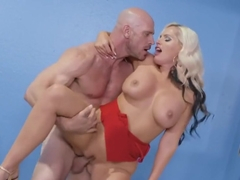 The bald guy licked pussy blonde and sexual her big Tits...