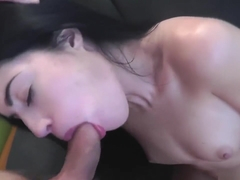 Throat fucked April Blue gets Facial