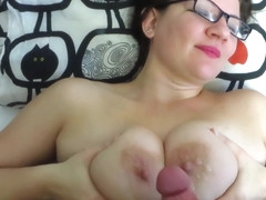 Cumshots On big tits of mature mother. POV