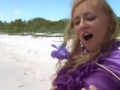 Make love on beach with purple silk blouse on to satisfy satin fetish