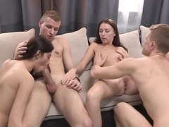 Chicks share dicks in a nice foursome