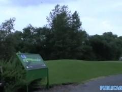 Publicagent amazing sex on a public golf course at daytime