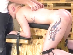 Blonde restrained twink anally drilled by mature pervert